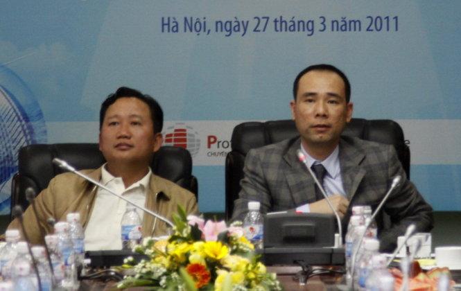 Ông Vi éc Thun (phai) và ông TrËnh Xuân Thanh t¡i mô#t buÕi hÍp báo cça TÕng công ty CÕ ph§n xây l¯p D§u khí ViÇt Nam ¢nh: VietnamPlus