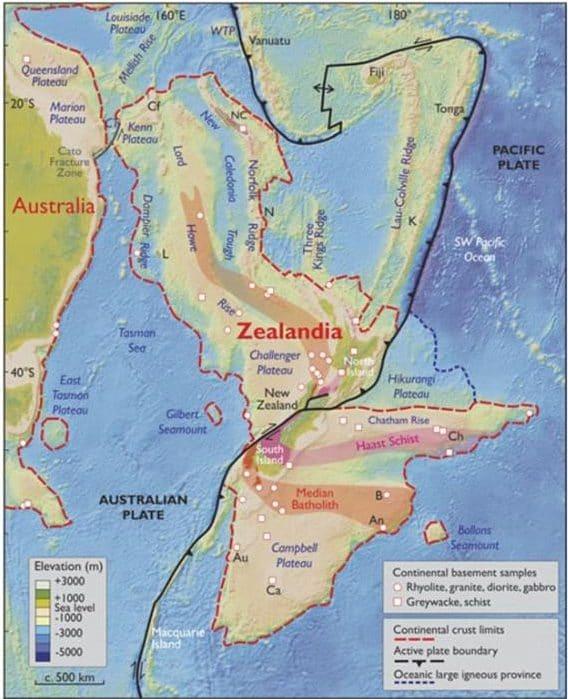 Một bản đồ về độ cao của Zealandia và nước Úc sát bên.