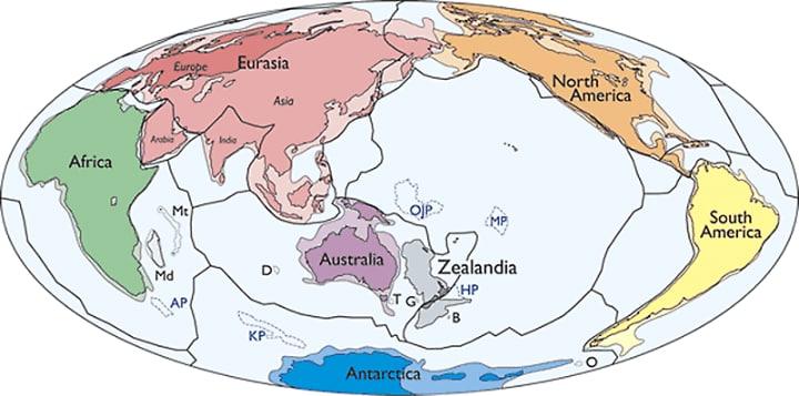 Zealandia được đánh dấu màu xám ở phía đông Úc.