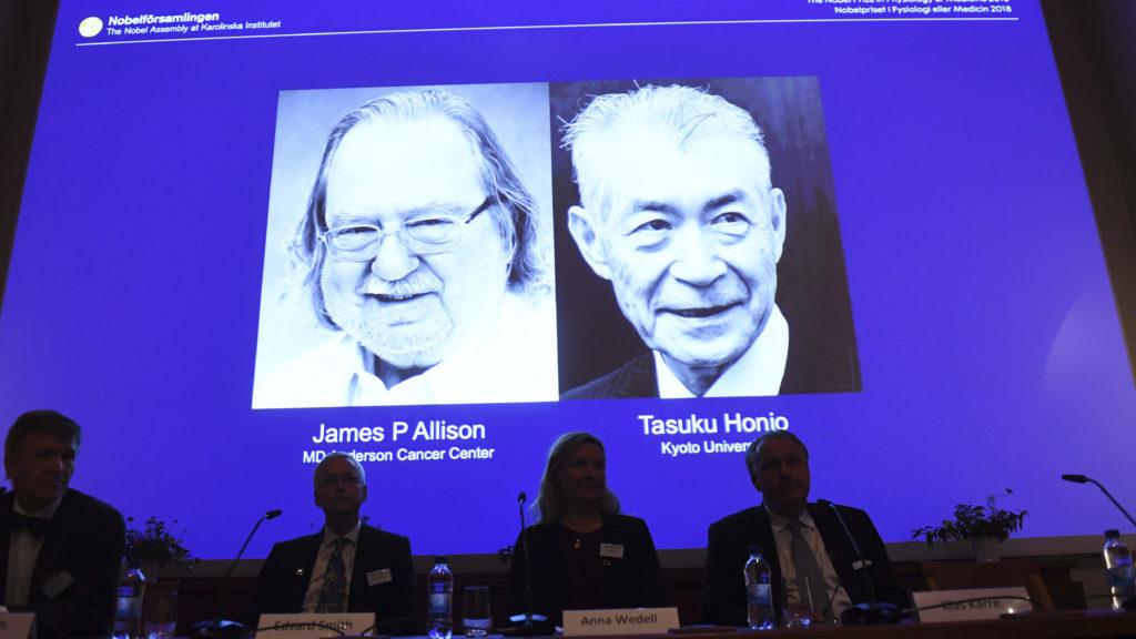 Giải thưởng Nobel y học 2018 đã trao cho hai nhà khoa học, James Allison (Mỹ) và Tasuku Honjo (Nhật Bản), vì những khám phá trong điều trị ung thư bằng cách ức chế điều hòa miễn dịch âm tính, mang lại hy vọng sống cho nhiều bệnh nhân ung thư.