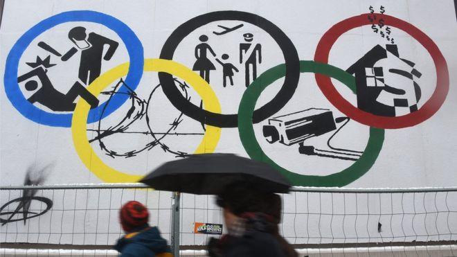 Hình ảnh phản đối đăng cai Olympic của các tổ chức xã hội tại Hamburg.