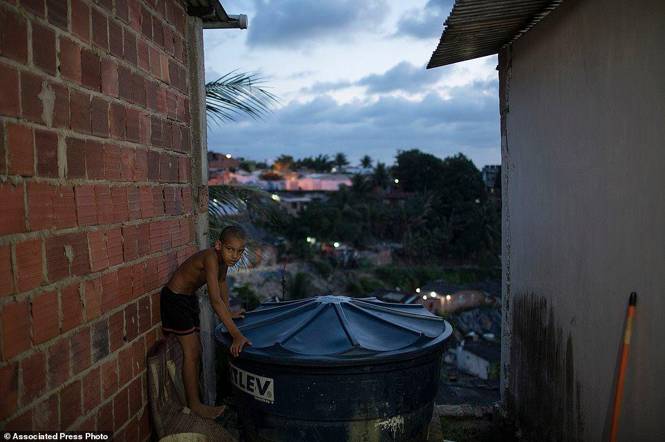 Grabriel chơi gần một bồn đựng nước, một nơi tiềm năng cho muỗi Aedes aegypt sinh sảng, bên ngoài căn nhà của em ở Recife, bang Pernambuco, Brazil. Muỗi này là vật mang virus Zika đang lây lan khắp Mỹ Latinh.