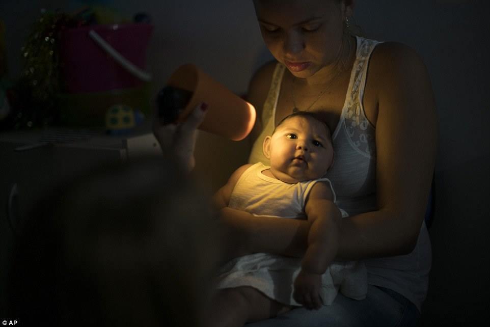 Chị Santos ẵm bé Juan Pedro để nhân viên y tế khám cho bé tại Altino Ventura foundation. Juan Pedro là một trong số 3.400 ca nghi mắc bệnh đầu teo có thể có liên quan đến virus, nhưng chưa có mối liên quan nào được chứng minh.