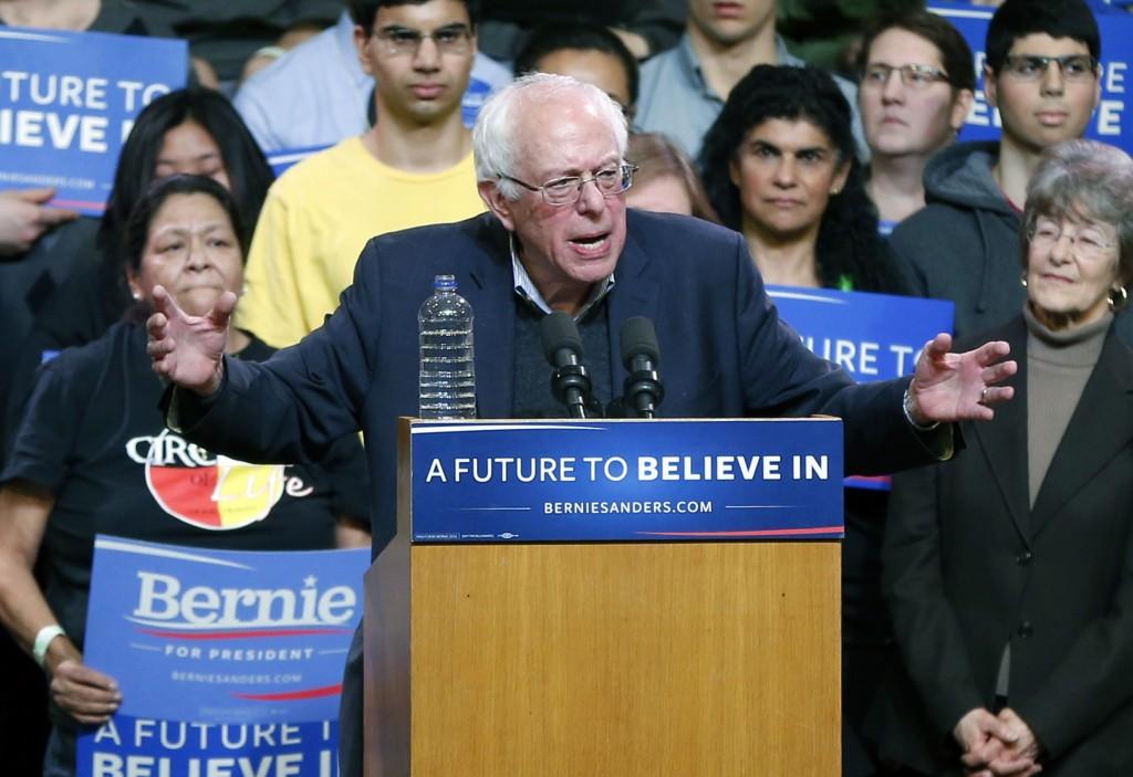 Democratic presidential candidate, Sen. Bernie Sanders, I-Vt, campaigns Tuesday, Jan. 26, 2016, at a rally in Duluth, Minn. (AP Photo/Jim Mone)
