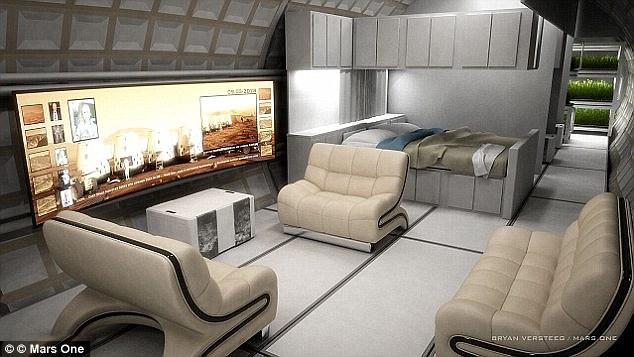 Trong số các khía cạnh khó khăn trong việt tạo nên một môi trường sống trên Hỏa tinh là kích cỡ và hình dạng của cấu trúc (nội thất minh họa). Một chuyến đi demo sẽ được phóng lên Hỏa tinh để trắc nghiệm các công nghệ vào năm 2020.