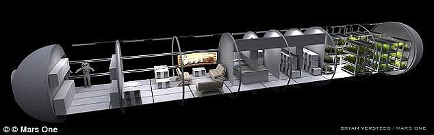 Hệ thống kiểm tra bề mặt môi trường sống và hỗ trợ cuộc sống (ECLSS) của Mars One là cơ sở hạ tầng mà tổ chức sẽ giúp cho các nhà du hành vũ trụ sinh sống. Trong ảnh là một ấn tượng về môi trường sống của một nghệ sĩ.