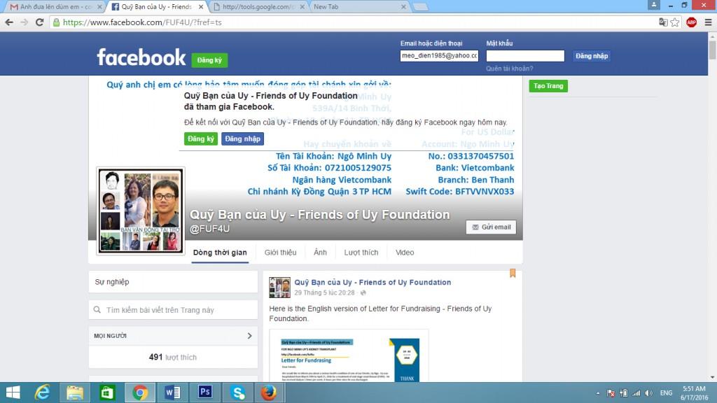 Trang facebook Friend of Uy.