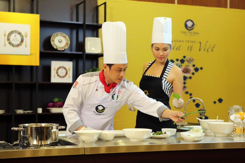 Á hậu Hoàng My và quán quân Chiếc Thìa Vàng 2014 Trần Thái Bảo - Ảnh BTC