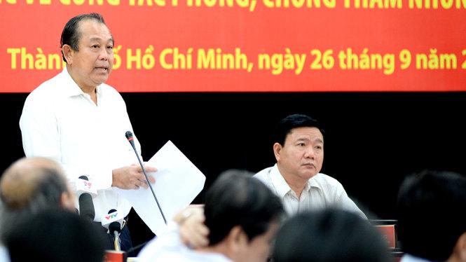 Phó Thủ tướng Trương Hoà Bình phát biểu chỉ đạo công tác phòng, chống tham nhũng, lãng phí tại buổi làm việc với TP.HCM ngày 26-9-2016. Ảnh Tự Trung