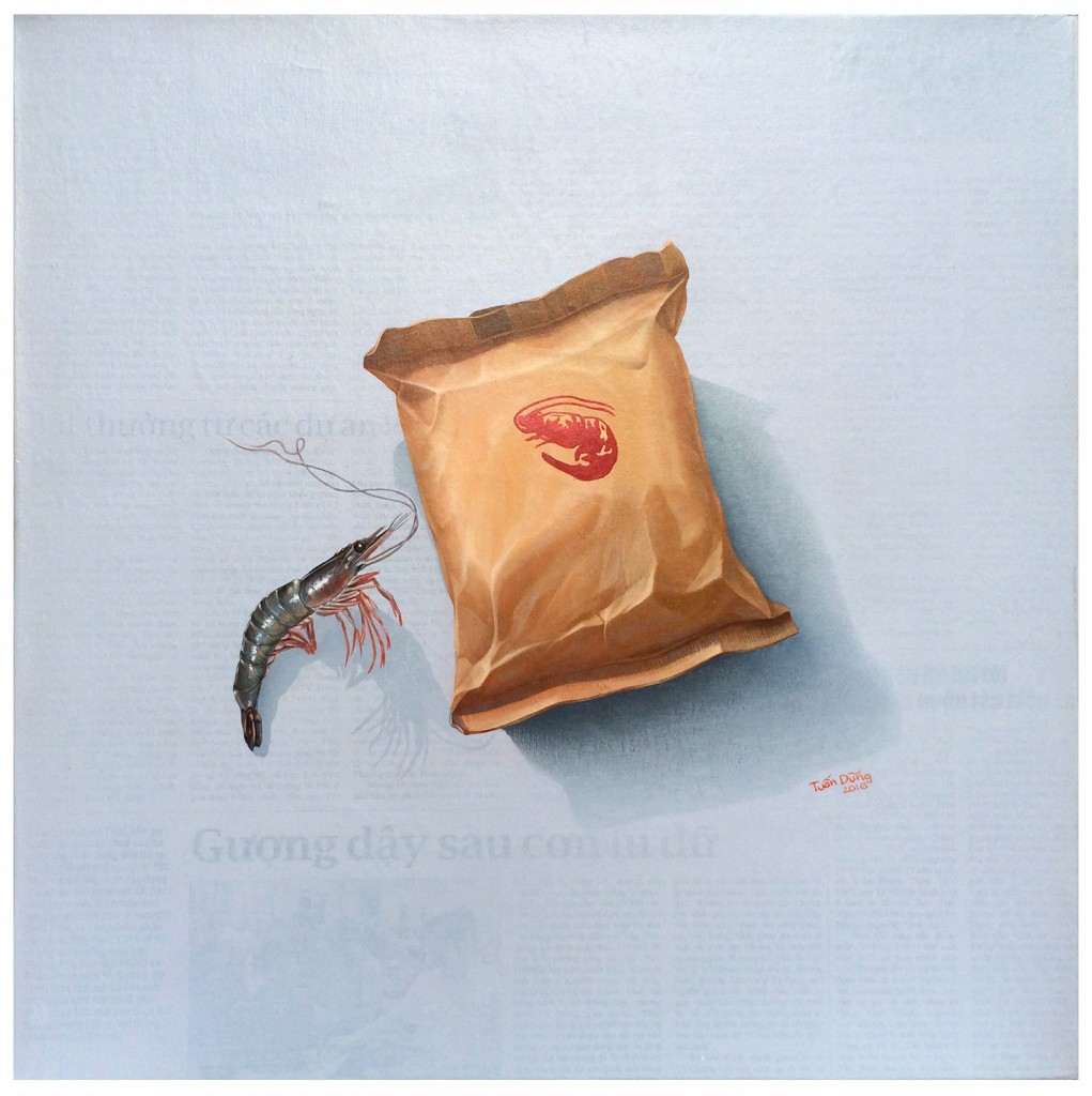 ntd_shrimp-story_chuyen-tom_2016_acrylic-collage-on-canvas_40-x-40cm