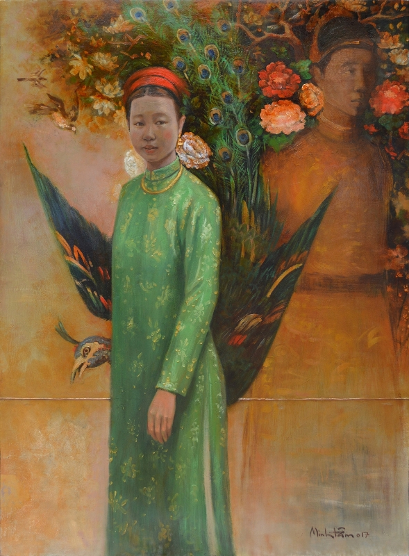 TMT_Vua-Duy-Tan-va-Ba-Ho-Thi-Chi_-KIng-Duy-Tan-&-Madame-Ho-Thi-Chi,-2017,-Oil,-lacquer-on-wood, 122 x 91-cm